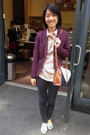 maroon H&M blazer - light pink blouse - navy pants