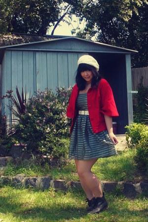 white thrifted belt - black belle boots - green H&M dress - red Ladakh coat
