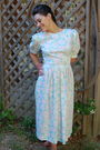 Blue-repurposed-by-sally-ann-dress-beige-hush-puppies-shoes