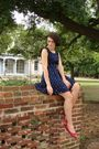 Blue-sally-ann-dress-red-thrifted-shoes