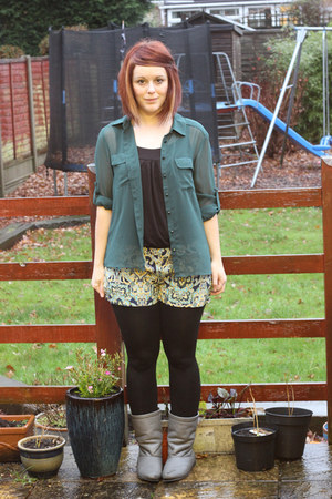 green new look blouse - grey nana Office boots - paisley Glamorous shorts