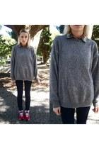 big cozy mens Gap sweater - mid rise jeans - plaid button-up shirt - doily socks