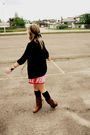 Red-dress-brown-boots-black-cardigan-brown-accessories