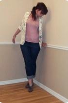 floral print vintage blazer - navy jeans - light pink pink sparkly shirt