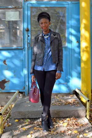 black new look jacket - blue c&a shirt - ruby red Zara bag