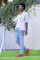 sky blue Zara jeans - white c&a blazer - light blue Avon bag - red Primark flats