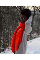 carrot orange H&M scarf - tan New Yorker sweater