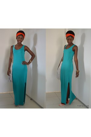 turquoise blue Which One dress - beige H&M bag - carrot orange moleca flats