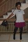 Black-stradivarius-bag-white-zara-t-shirt-magenta-miniprix-skirt