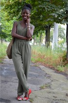 brown Marisa bag - army green Primark romper - red Dakota flats