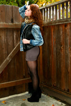 black leather XXI vest - black suede deena and ozzy boots