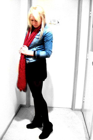 black suede lace up Miss Shop boots - blue jacket - red scarf - black Just jeans