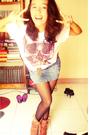 Brown-some-cheap-korean-store-boots-white-artwork-t-shirt-blue-levis-skirt-