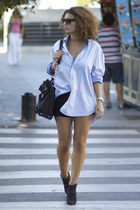 Zara boots - Hubbys Zara shirt - Michael Kors bag - DIY H&M denim shorts