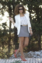 white Zara blazer - black calvin klein bag - Zara belt - black Celine glasses