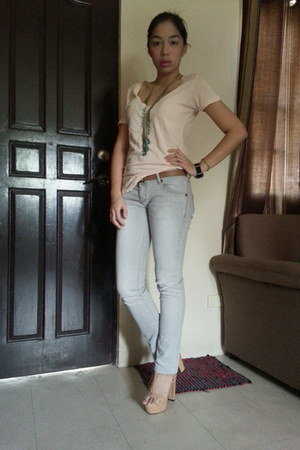 peach Forever 21 shirt - heather gray Zara pants - brown Forever 21 belt