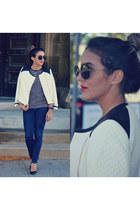 quilted Club Monaco jacket - Miu Miu glasses - Christian Louboutin heels