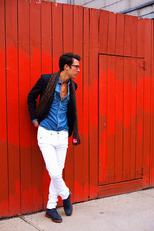 DrMartens shoes - Dr Denim jeans - wooyoungme blazer - acne shirt - Diesel scarf
