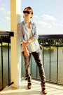 Charcoal-gray-denim-express-jeans-sky-blue-stripe-american-eagle-shirt