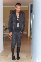black DSquared boots - necklace - Levis jeans - Zara Man shirt