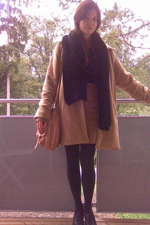 beige vintage coat - beige vintage skirt - black H&M scarf