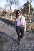light blue H&M jacket - navy Zara pants - camel H&M wedges