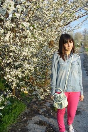 Bershka jeans - denim H&M shirt - Topshop bag - Adidas Originals sneakers