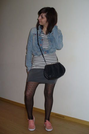 gray pull&bear skirt - H&M blouse - H&M jacket - H&M tights - H&M shoes - clockh