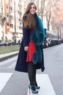 Ruby-red-crepe-gucci-dress-navy-wool-gucci-coat-teal-fur-gucci-scarf