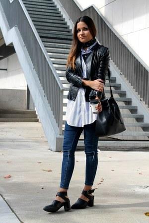 blue Zara shirt - black Zara shoes - black Sheinside jacket - black Parfois bag