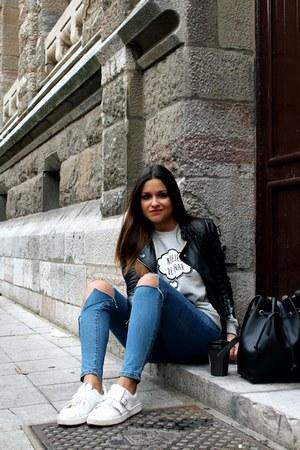 black Sheinside jacket - silver marronynegro sweatshirt