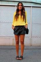 yellow Zara blouse - black BLANCO shorts