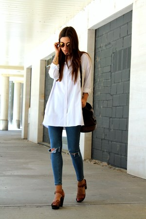 sky blue Sheinside jeans - white Sheinside shirt - crimson H&M sandals
