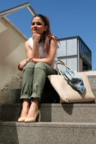 camel H&M bag - olive green Lefties pants - white Zara top