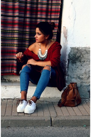 silver Happiness Boutique necklace - blue shein jeans - brick red Primark top