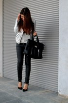 silver Zara jacket - black Stradivarius bag
