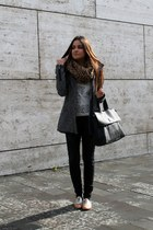 heather gray Bershka coat - black Zara pants