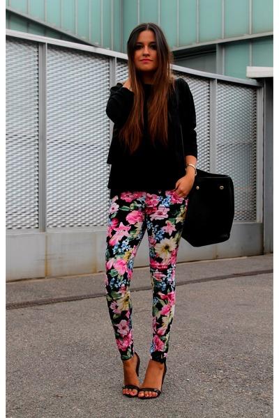black Zara sweater - black H&M bag - black Stradivarius heels