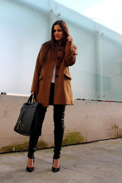dark brown H&amp;M coat - white Zara top