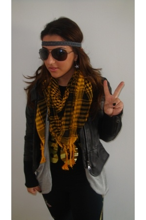 JMR scarf - Bebe jacket - Nordstrom shirt - JMR t-shirt - Christian Audigier pan