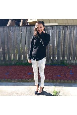 black Uniqlo sweater - black madewell blouse - white gu pants