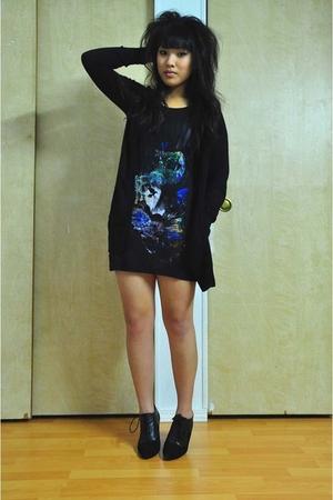 698c100aa9c3 black Lux cardigan - black H M shirt - black H M boots