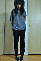 gray Zoa top - black J Brand pants - H&M boots