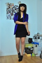 purple thrifted blazer - black H&M boots - black Phoenix dress