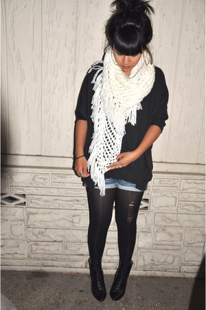H&M scarf - f21 sweater - jeans - H&M boots