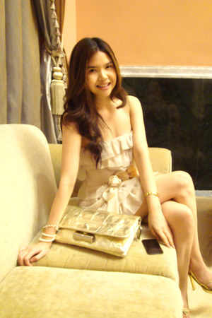 silk H&M dress - leather sdgf bag - silk Miu Miu belt - pearls REI bracelet