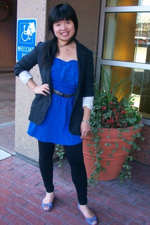 blue chiffon honey dress - dark blue woven wilfred blazer - Guess tights