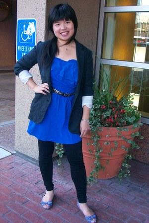 blue chiffon honey dress - dark blue woven wilfred blazer - Guess tights