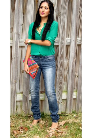 ann taylor blouse - H&M jeans - no brand purse - Forever 21 heels