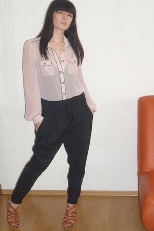 black Zara pants - pink Zara blouse - brown Retro shoes
